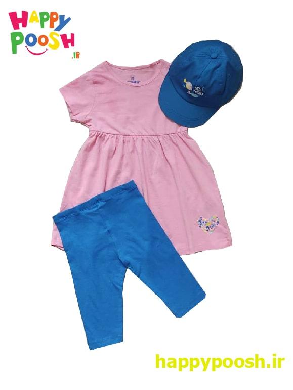 ست سه تکه پیراهن، شلوار و کلاه دخترانه لوپیلو در دو سایز متنوع